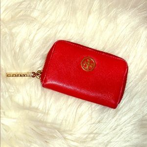 Tory Burch RED Card holder with gold accents